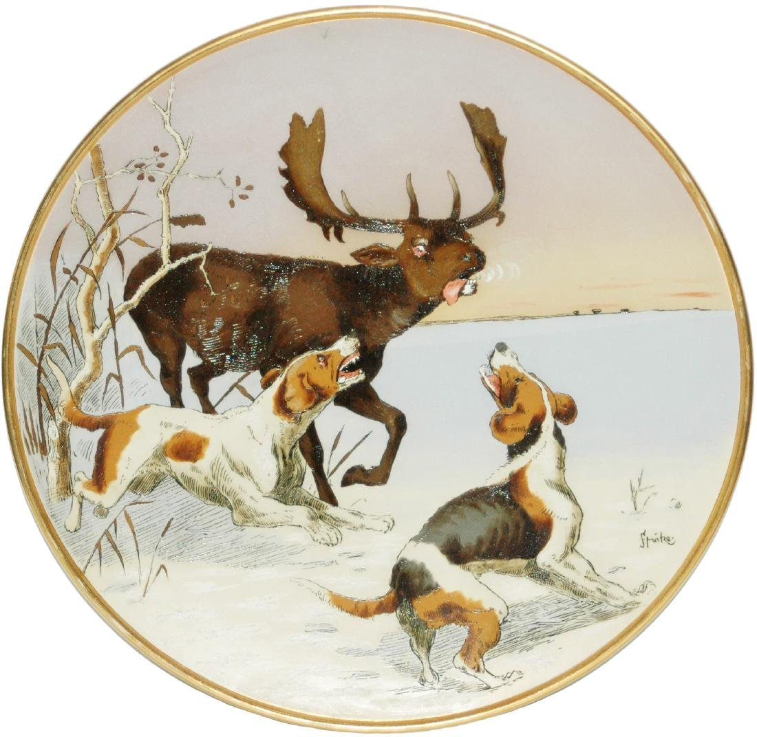 "Mettlach Dogs Attack a Moose 15"" Plaque"