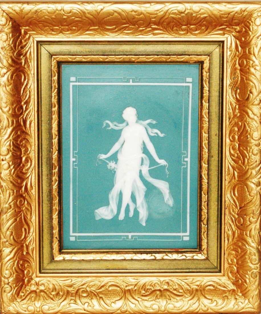 Mettlach Cameo Romanesque Woman Plaque Framed