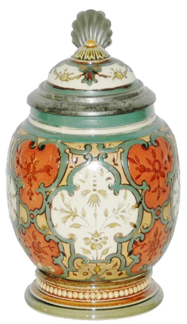 Mettlach Mosaic Floral 1/4L Stein w Inlay