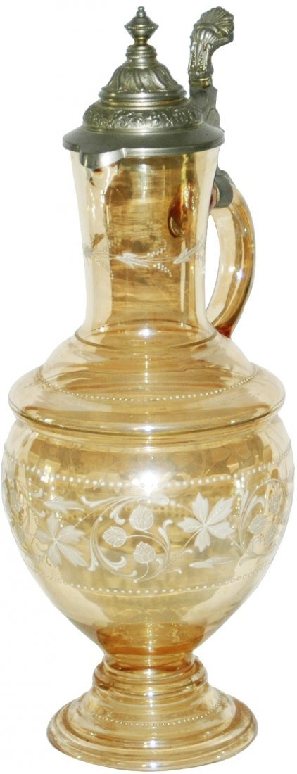 White Enamel Floral Amber 2-1/2L Glass Stein
