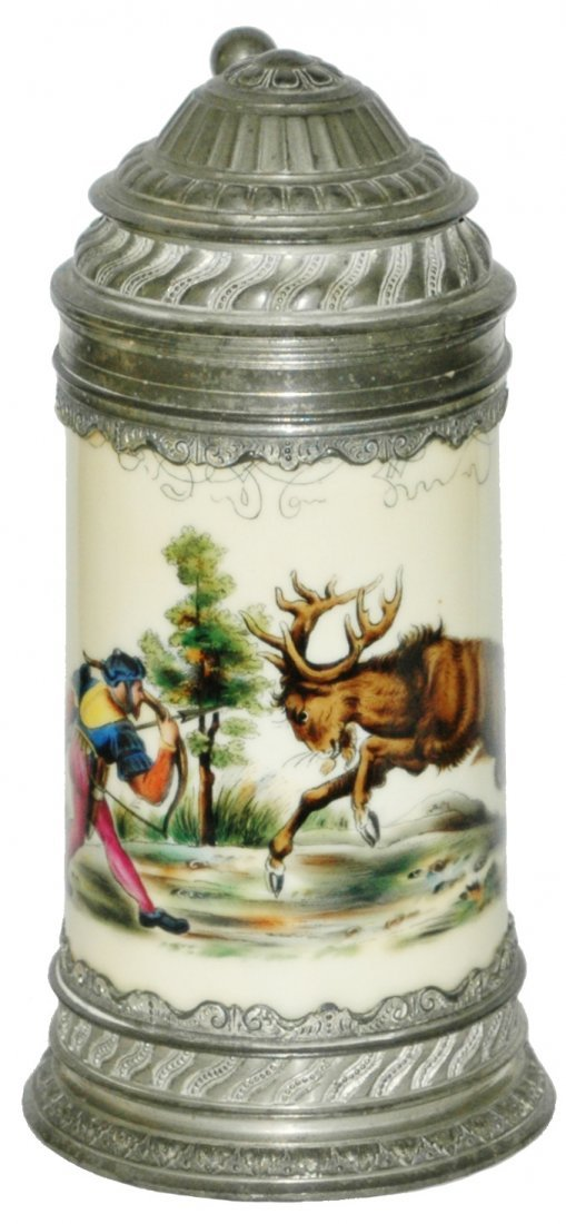 Hunter w Bow shooting Stag Stein w  Fancy Pewter