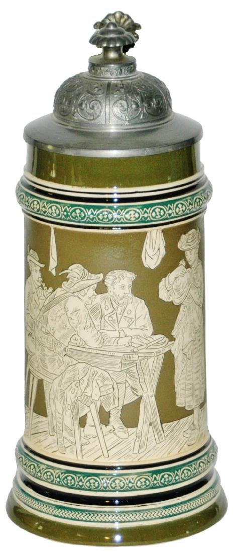1L Table Scene w Alpine Houses Etched Stein