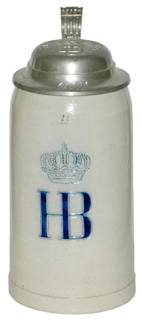 HB &Crown  Stoneware Impressed 1L Stein w Logo Lid