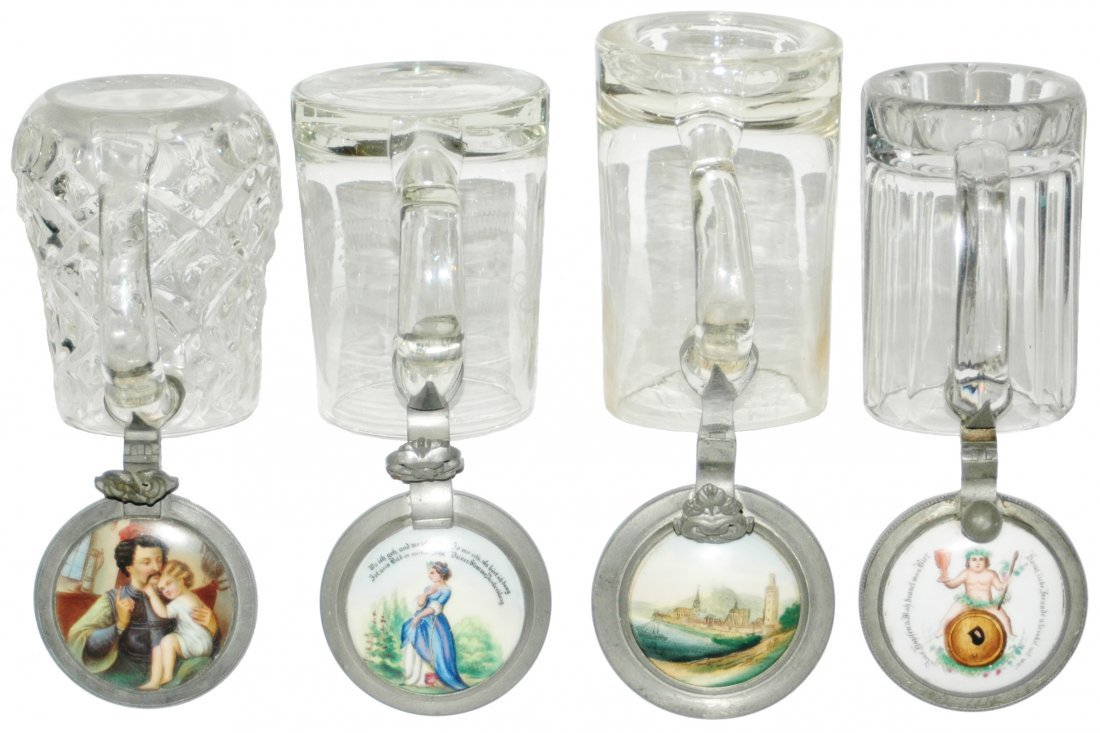 Lot of 4 Glass Steins with Porcelain Inlays