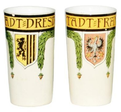 Pair of Mettlach Beakers Dresden & Frankfurt