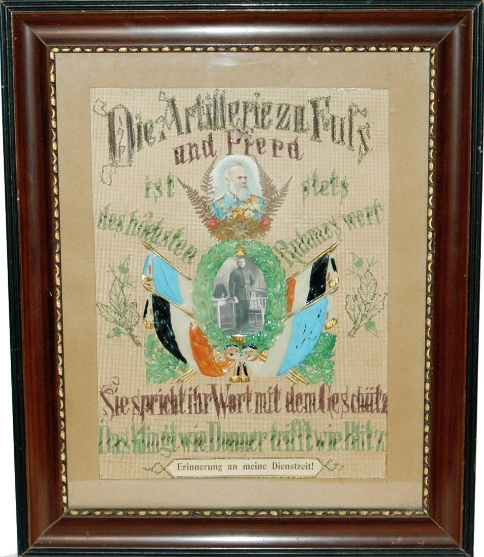 Embroidered Regimental Certificate- Foot Artilerie