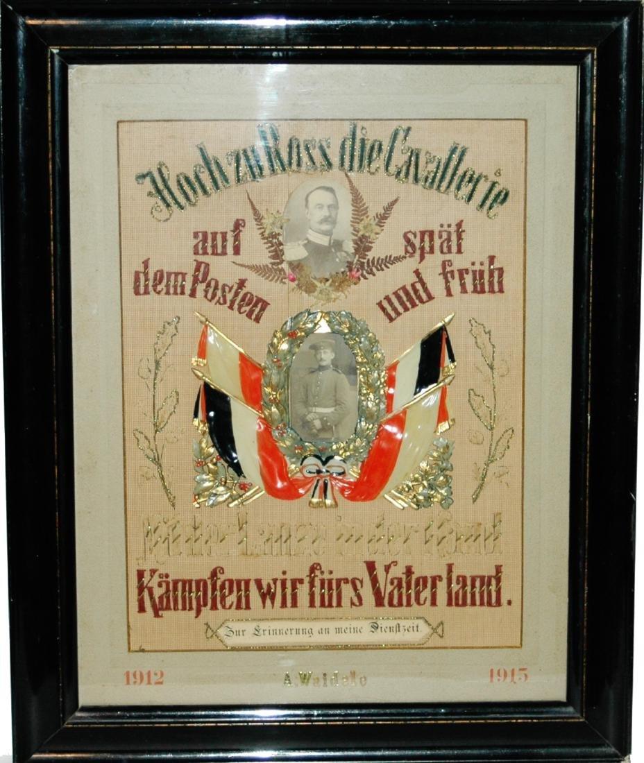 Embroidered Regimental certificate - Cavalerie
