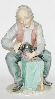 "Porcelain 8-3/4"" Figure of Man Making a Beer Stein"