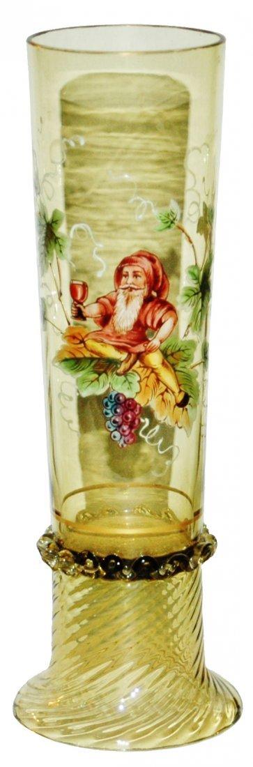 Dwarf & floral Green Glass Beaker