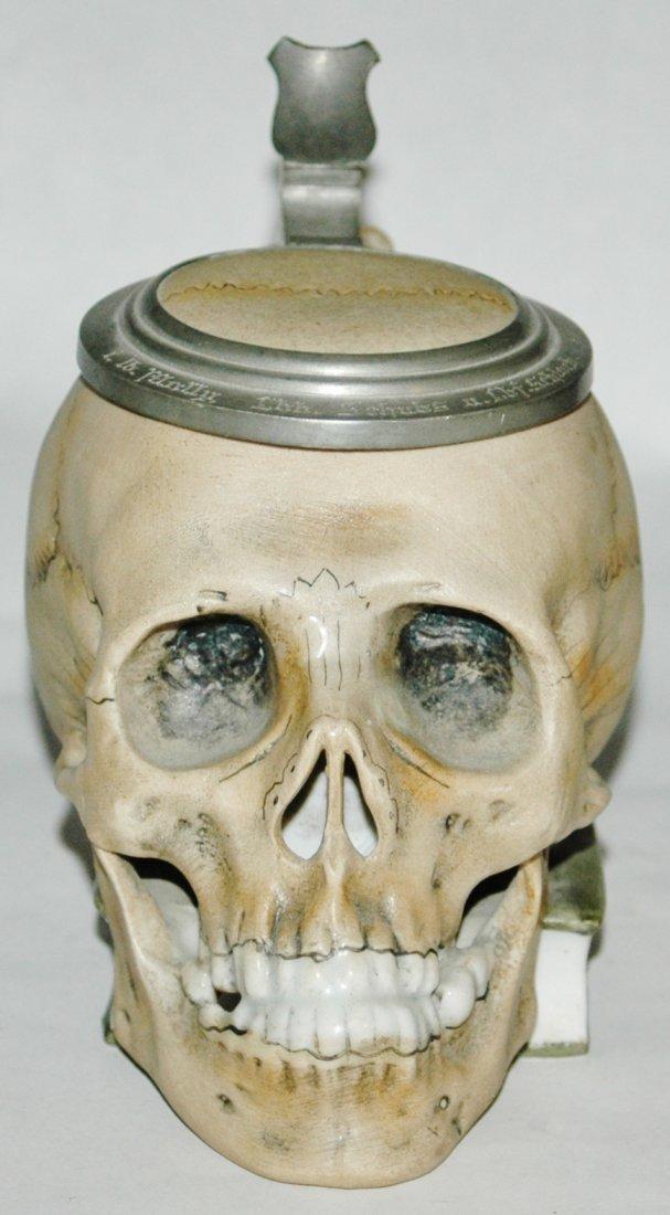 3/10L Skull on Book Bohne Porcelain Stein - 2