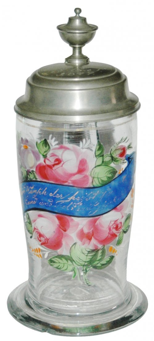 Enamel Glass Floral Stein Dated 1847