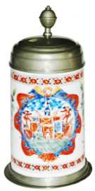 1L Circa 1750 Enamel Milk Glass Stein wNice Pewter