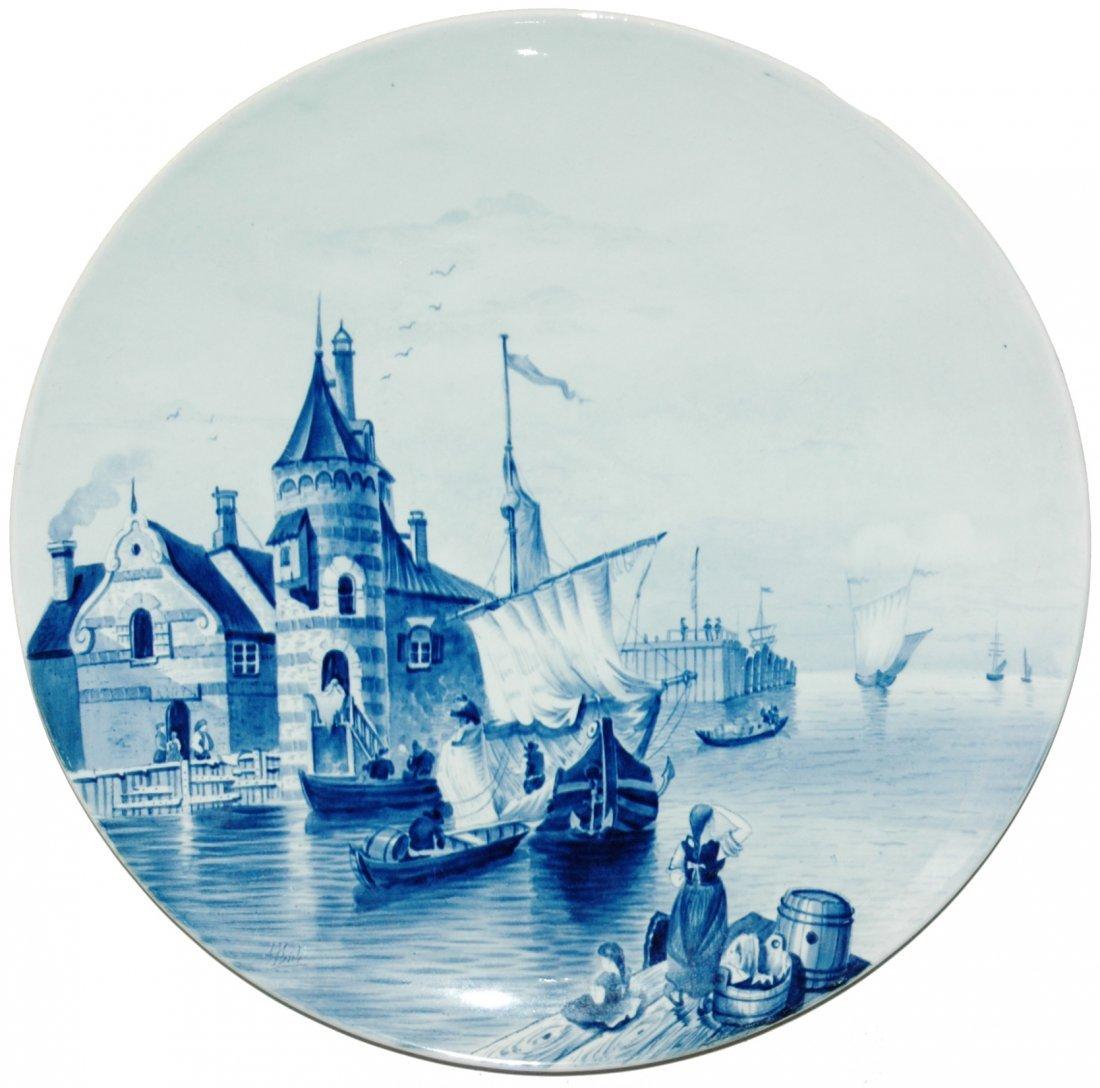 """Mettlach 17"""" Plaque of Harbor Scene"""