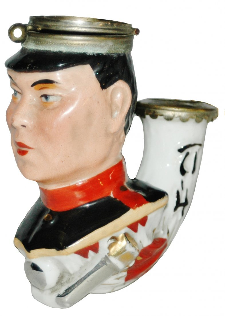 Porcelain Character Pipe of Japanese Soldier