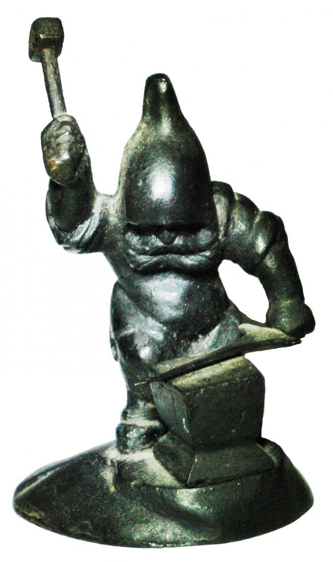 Dwarf Making Sword at Anvil Cast Iron Figure
