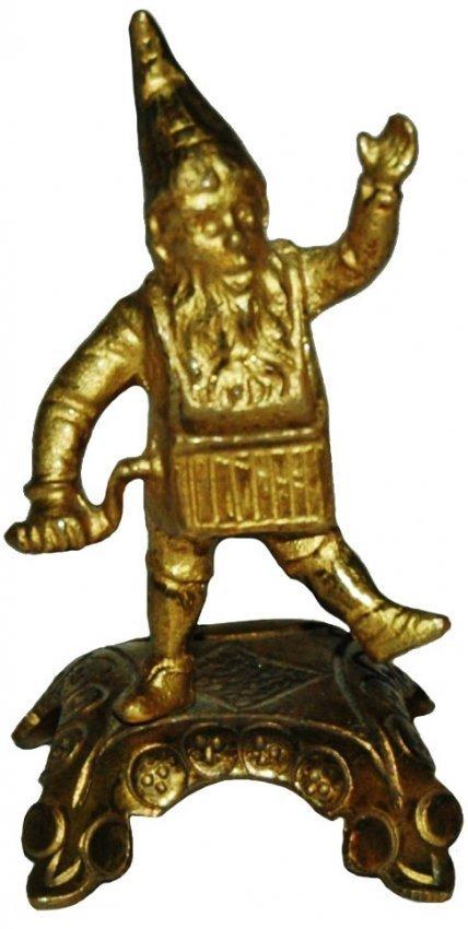 """Brass 3"""" Dwarf Organ Grinder Figure"""