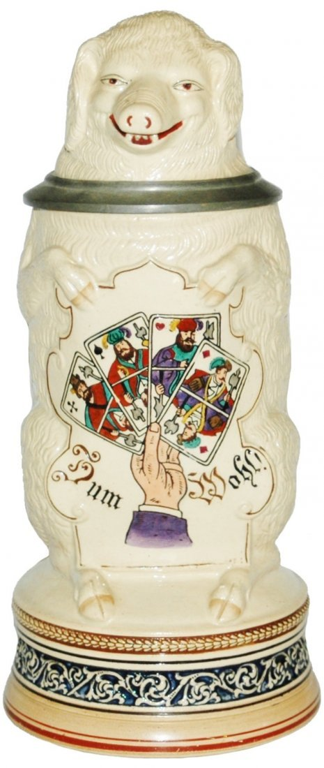 Pig with Playing Cards Character Stein