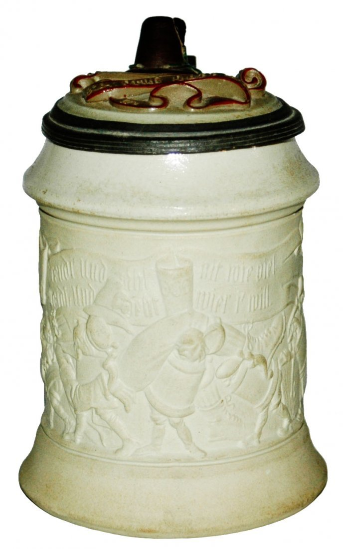 Mettlach Walking Beer steins w Inlay Lid