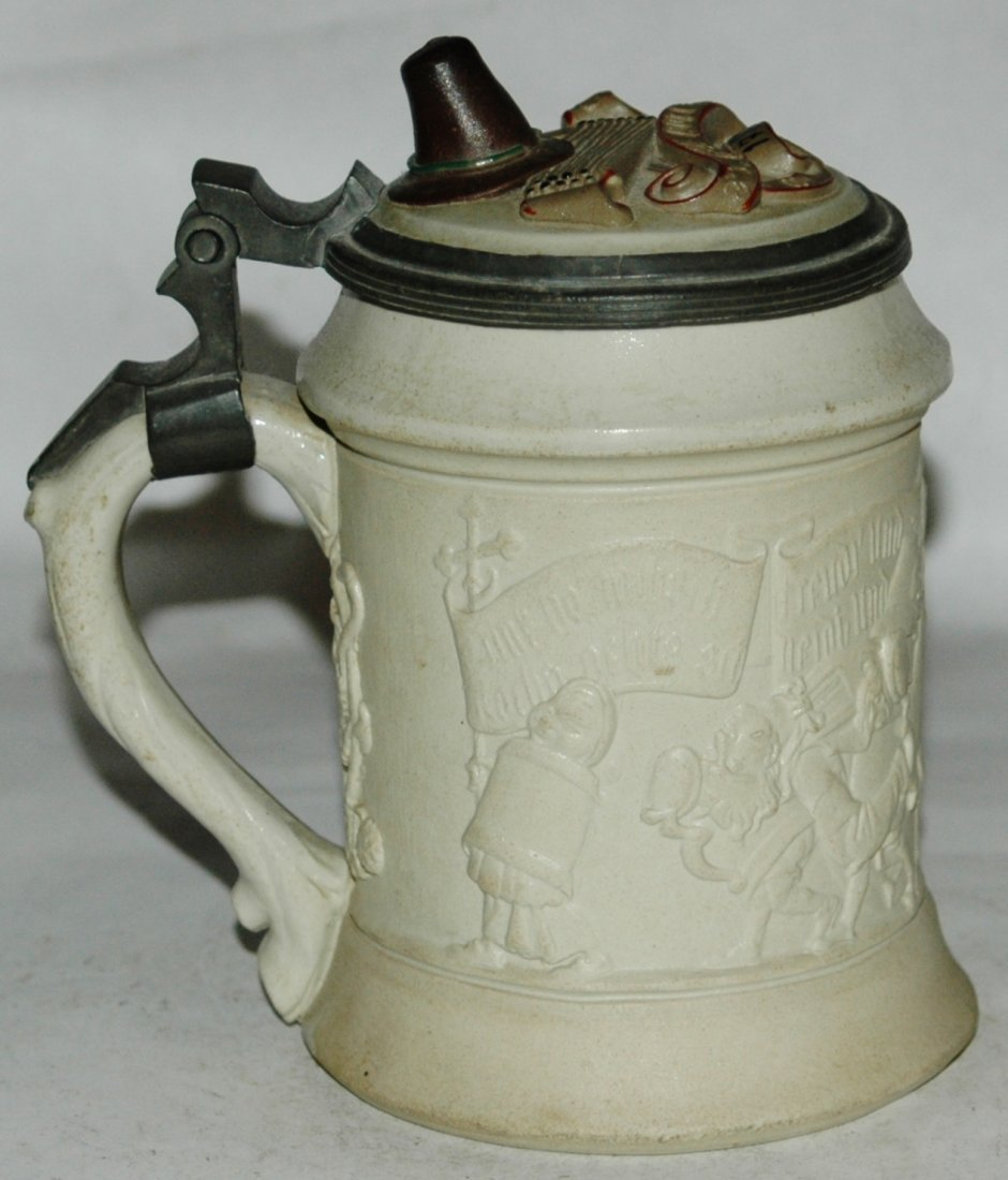 Mettlach Walking Beer steins w Inlay Lid - 2