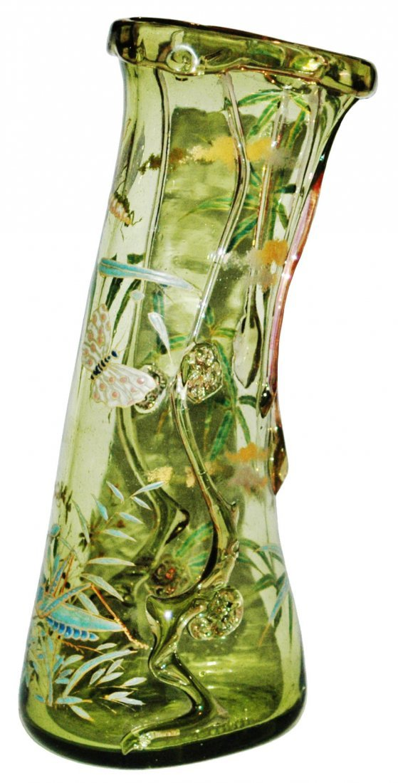 French Glass Vase Applied Butterfly Dragonfly Bugs