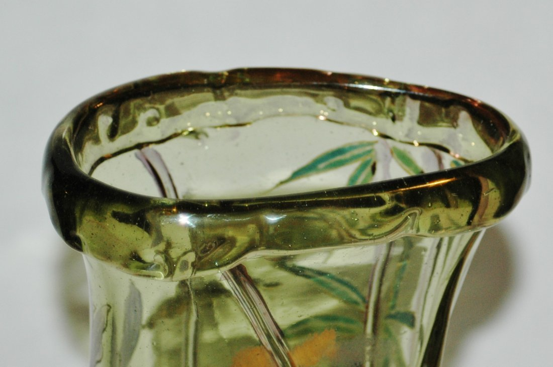French Glass Vase Applied Butterfly Dragonfly Bugs - 3