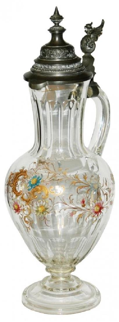 Glass 2L Enameled Floral Stein w Fancy Lid