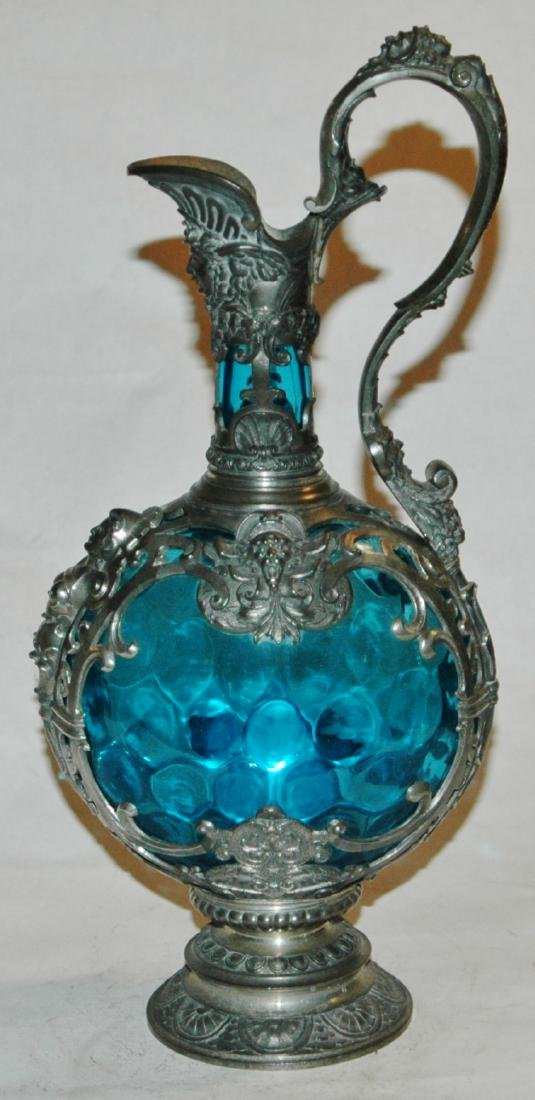 "Blown Blue Glass & Pewter Relief 13"" Ewer"