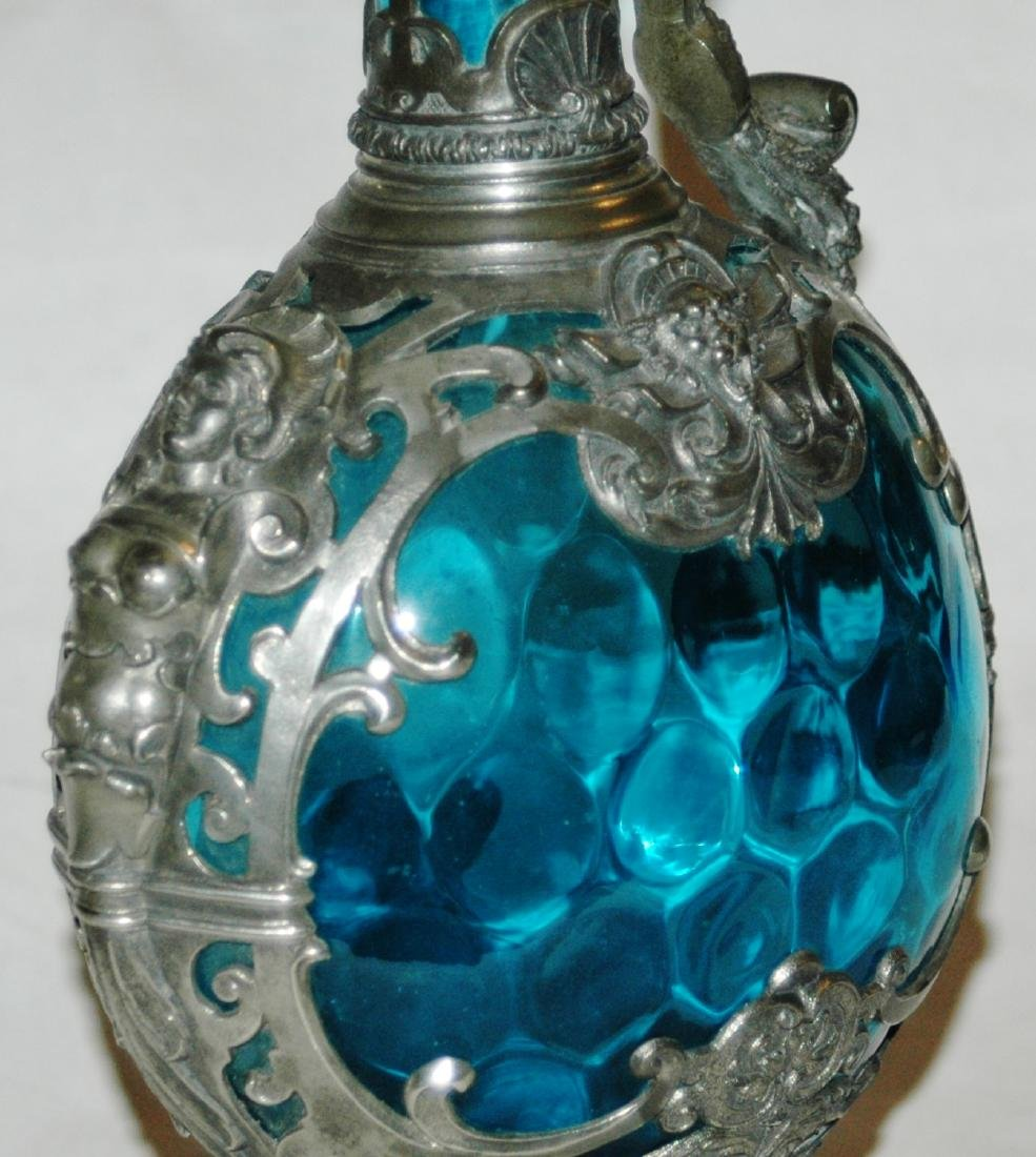 "Blown Blue Glass & Pewter Relief 13"" Ewer - 2"