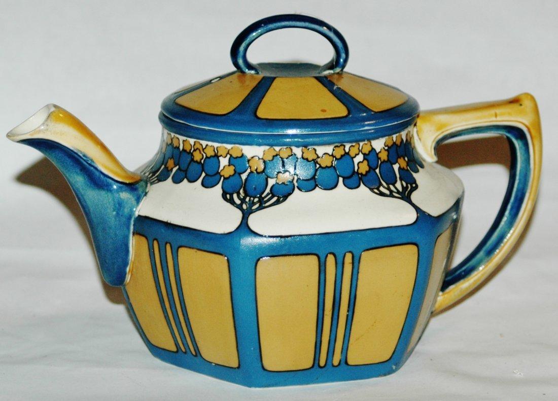 Mettlach Art Nouveau Etched Tea Pot
