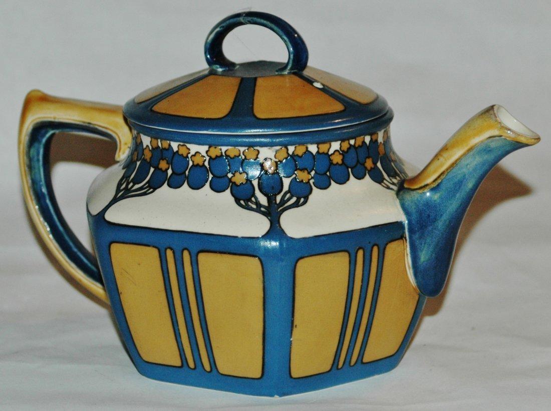 Mettlach Art Nouveau Etched Tea Pot - 2