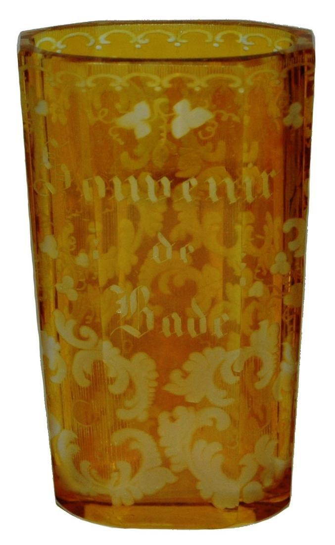 Stained & Wheel-cut Souvenir Glass Pocket Beaker
