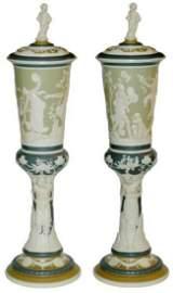 PAIR Mettlach Pokals w Romanesque Women & Pan Rare