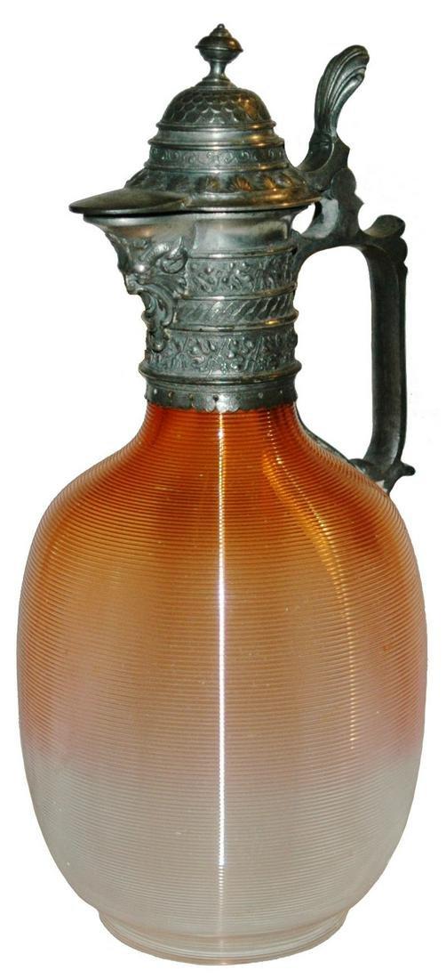 Threaded Body Fancy Neck & Lid Orange Glass Stein