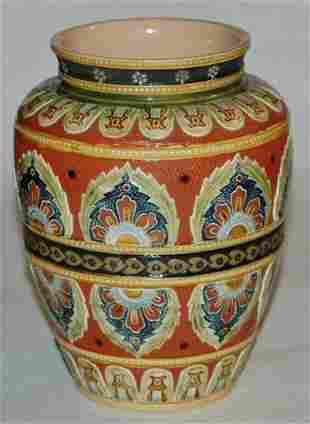 Mettlach 1596 Mosaic 6 floral vase