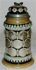 Pottery Hanke relief coin stein 1/2L