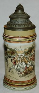 Mettlach etched American college football game stein