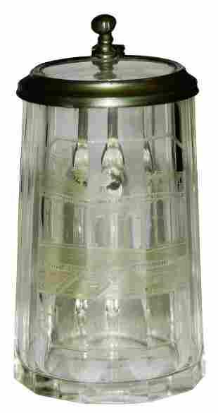 Wheel Cut Spa Scene Faceted Glass Mini Stein