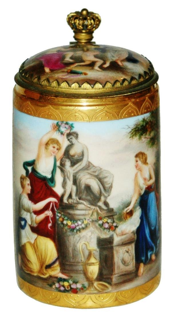 Royal Vienna Hand Painted Stein w Brass Mounts