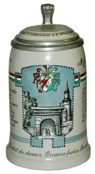 Fraternal Stoneware Stein w Roster Inlay Lid