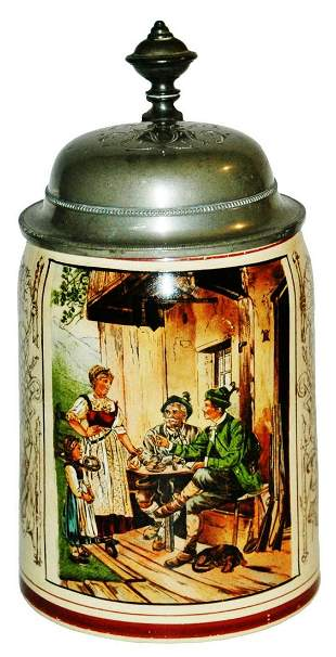 Drinking Hunters in Tavern Pottery Stein