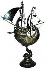 Ornate Silver Nautilus Ship Pokal Neptune Mermaid