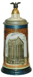 Mettlach Chicago Buildings W Inlay & Train Handle