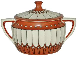 Mettlach Art Deco Two Handled Covered Bowl