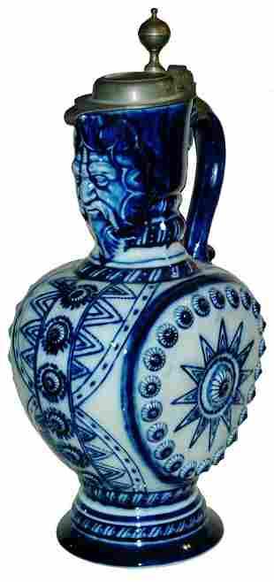 3L KPM Cobalt Porcelain  Stein w Bearded Spout