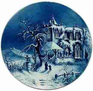 Mettlach Winter Lit Window Gothic Church Plaque