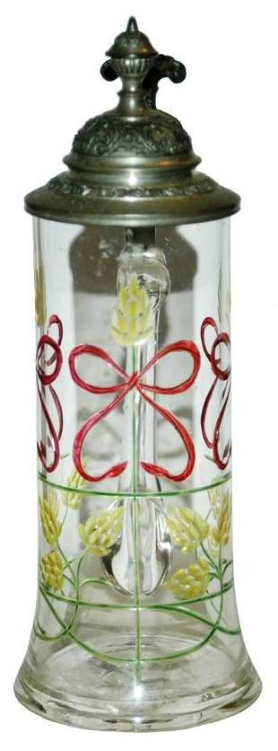 Art Nouveau Floral Cut Design Glass Stein