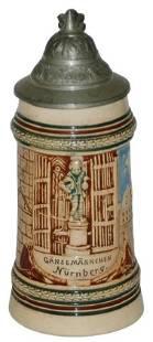 Nurnberg Gooseman 1/8L Pottery Relief Stein
