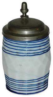 Unusual Milk Glass Threaded c. 1820 Stein