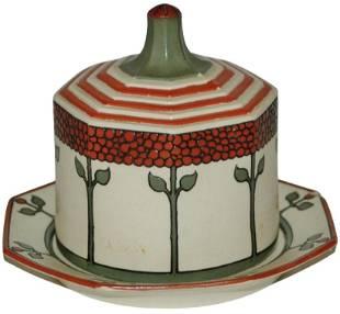 Uncommon Mettlach Art Nouveau Butter Dish & Cover