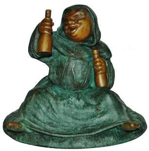 "Bronze Monk w Wine Bottles 4-1/2"" Figure"